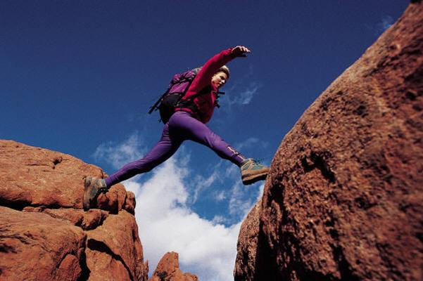 hiker jumping